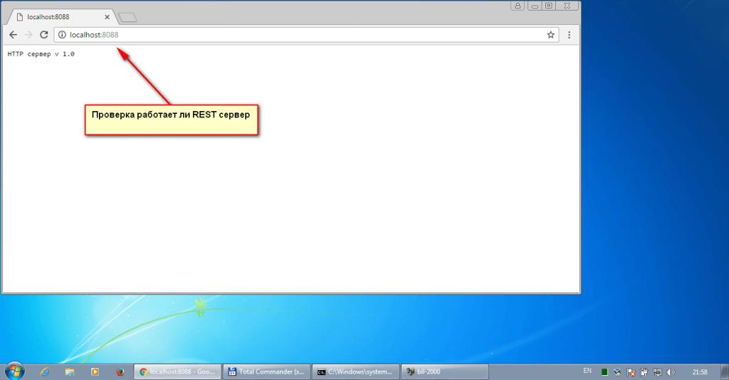 проверка встроенного REST сервера